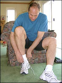Sir Steve Redgrave prepares for his training run at home