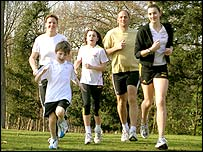 Sir Steve Redgrave with wife Ann and their three children