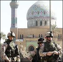 US troops and mosque, Baghdad, October 2005