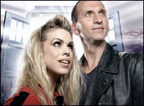 Billie Piper (left) and Christopher Eccleston as the Doctor