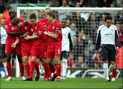Liverpool's players celebrate the opening goal