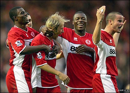 Middlesbrough's players celebrate Gaizka Mendieta's first goal