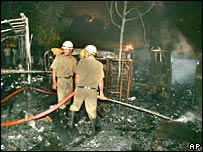 Firefighters in Sarojini Nagar market