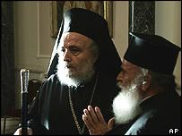 Greek Orthodox Patriarch Irineos I [left]