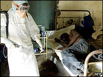 Disinfection procedure in room with Ebola patient