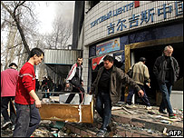 People looting in Bishkek