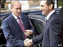 Президенты россии и Армении Владимир Путин и Роберт Кочарян