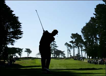 Colin Montgomerie drives during the fourth round at the Harding Park Golf Course in San Francisco