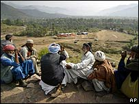 Villagers on the Indian side of the Line of Control waiting for news of their relatives