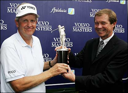 Colin Montgomerie is presented with the Harry Vardon trophy for winning the European Order of Merit by George O'Grady