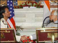 Condoleezza Rice and Indian Foreign Minister Natwar Singh