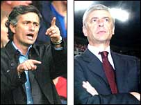 Chelsea manager Jose Mourinho and Arsenal counterpart Arsene Wenger