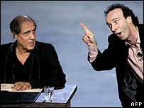 Adriano Celentano (left) and comedian Roberto Benigni on Rockpolitick show