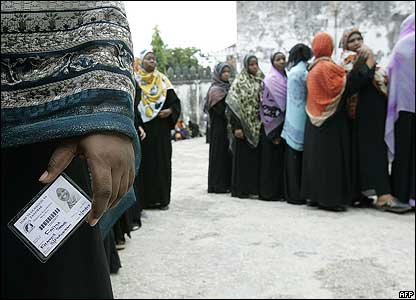 Queue of women waiting to vote