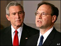 President Bush with judge Samuel Alito