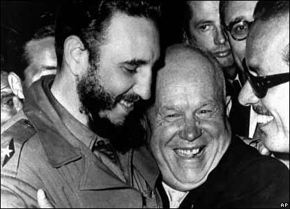 Castro con el presidente sovi�tico, Nikita Khruschev.