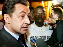 Interior Minister Nicolas Sarkozy in Clichy-sous-Bois