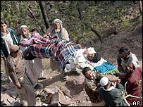 Quake survivors in Jhelum valley, east of Muzaffarabad