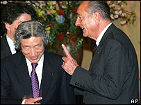 Japanese Prime Minister Junichiro Koizumi and French President Jacques Chirac