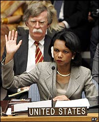 Condoleezza Rice votes on UN resolution 1636