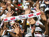 Supporters of the Movement for Democratic Change party rally in Harare