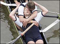 Oxford's Andrew Triggs Hodge is exhausted after the 2005 race
