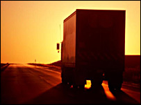 Lorry at sunset (BBC)