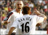 Kevin Nolan celebrates for Bolton