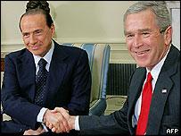 Italian Prime Minister Silvio Berlusconi with US President George W Bush, 31 Oct 05