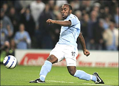 Darius Vassell scores for Manchester City