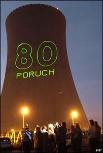 "Anti-nuclear protesters project an image reading ""80 failures"" onto a cooling tower at the Temelin nuclear power plant in south Bohemia last month.  Image: AP/CTK/David Veis"
