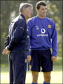 Keane (right) has a history of voicing his opinions on affairs at Man Utd