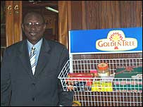 Richard Amarh Tetteh shows some of Golden Tree's products
