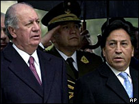 Chilean president Ricardo Lagos and his Peruvian counterpart Alejandro Toledo