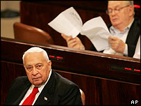 Ariel Sharon sits in the Knesset during the Gaza referendum debate