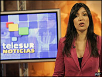 A Telesur news anchor rehearses for a live news broadcast in Caracas, Venezuela