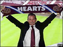 George Burley arrives at Tynecastle
