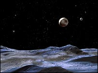 Artist's impression of the Pluto system, Nasa/Space Telescope Science Institute