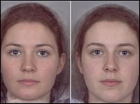 Image of female faces associated with high or low oestrogen levels