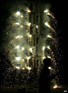 A firecracker competition in Allahabad, India