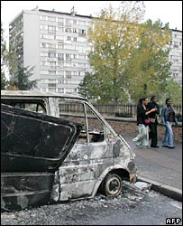 A burnt-out van in Clichy-sous-Bois