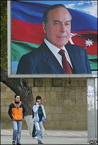 Poster of former Azerbaijan President Heydar Aliyev in Baku