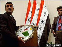 Podium being prepared for Iraqi parliament