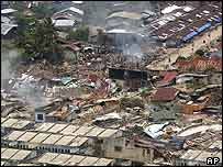 Aerial view of the damage in the city of Gunung Sitoli