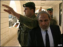 Mahmoud Zahar shielded by Palestinian security men after meeting Mahmoud Abbas
