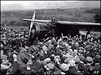 Amelia Earhart in Ireland, 1932, after completing her flight across the Atlantic