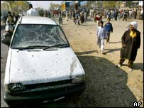 Suicide car bomb scene at Srinagar