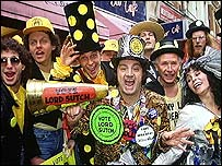 Lord Sutch and supporters of his Monster Raving Loony Party