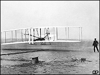 Orville and Wibur Wright's 'Wright Flyer' takes its first flight at Kitty Hawk, North Carolina, on 17 December,1903