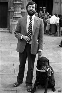 Outside the House of Commons in 1987